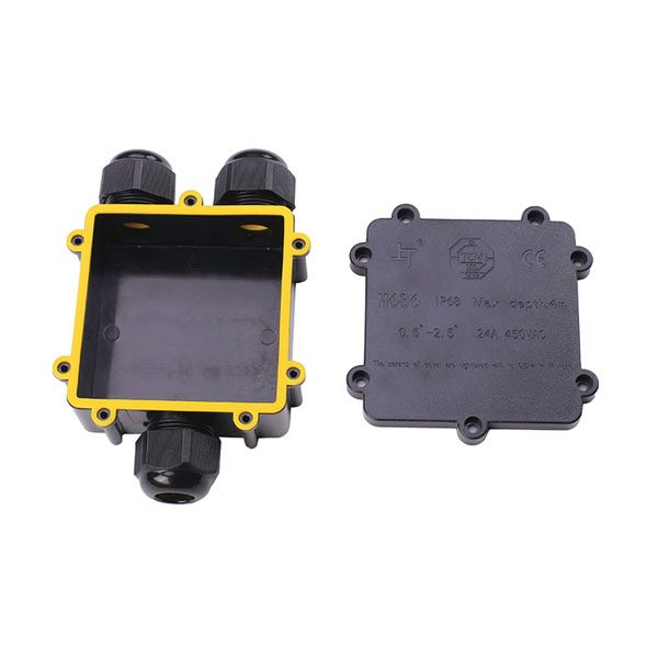 open 3-way waterproof junction box with yellow rubber gasket