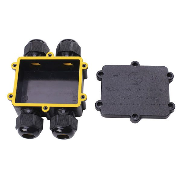 open 4-way waterproof junction box with yellow rubber gasket