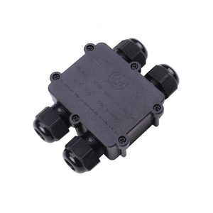 black 4-way waterproof junction box