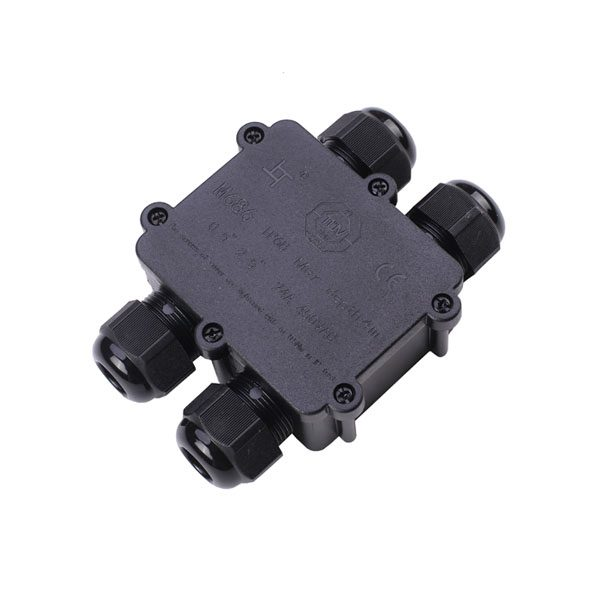 black 4-way waterproof junction box