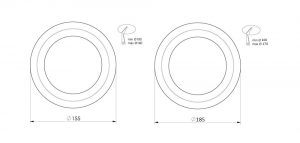 Stuff up plates 155 and 185 millimetre outer diameter schematic drawings side by side