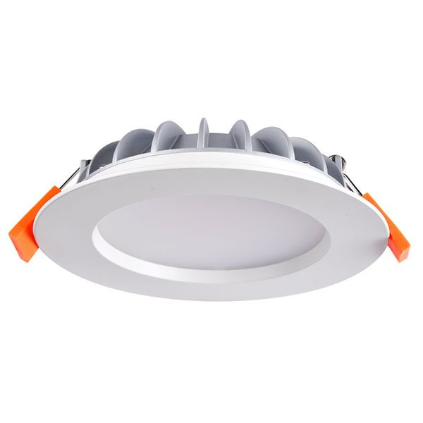 White round retrofit LED downlight recessed light fitting with diffuser slightly recessed into the body, orange rubbers on spring clips