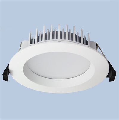 LED Downlight DL400 round white fixed recessed with matt diffuser, black spring clips, heatsink on the back