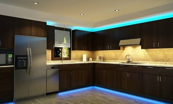 LED striplighting in kitchen above kitchen bench, at toe kicks and above hanging cupboards