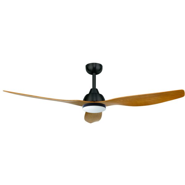 Ceiling Fan with wooden blades and light in the middle