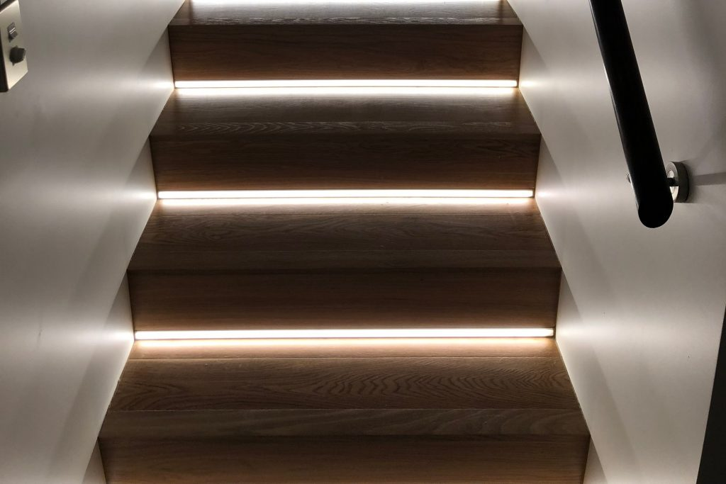 Led Strip Lights Set Into Stair Risers Astrum Lighting And Design