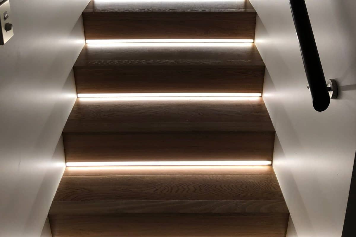 LED lights recessed into stair risers