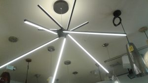 Architectural pendant light in Auckland showroom