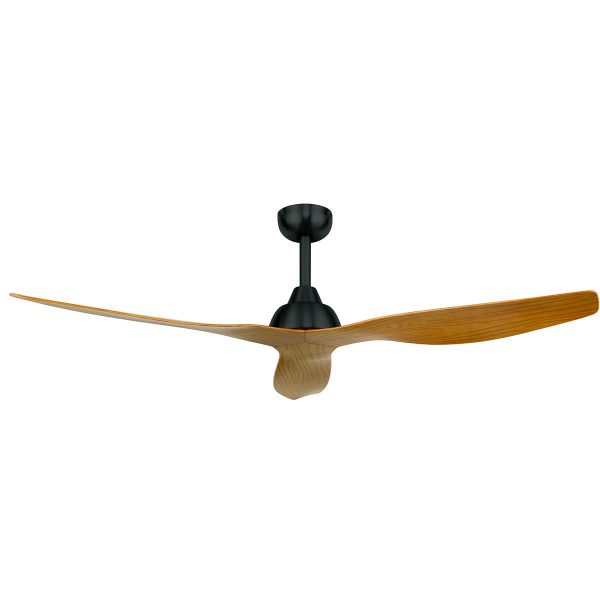 Ceiling fan with wood blades, black base