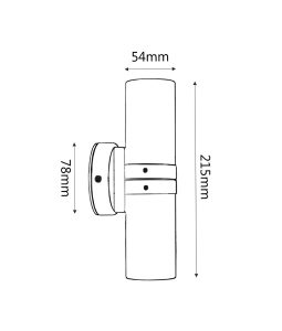 Copper up/down pillar light dimension drawing